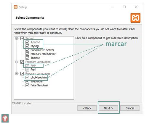 Instalar XAMPP - pantalla selección de php y mysql