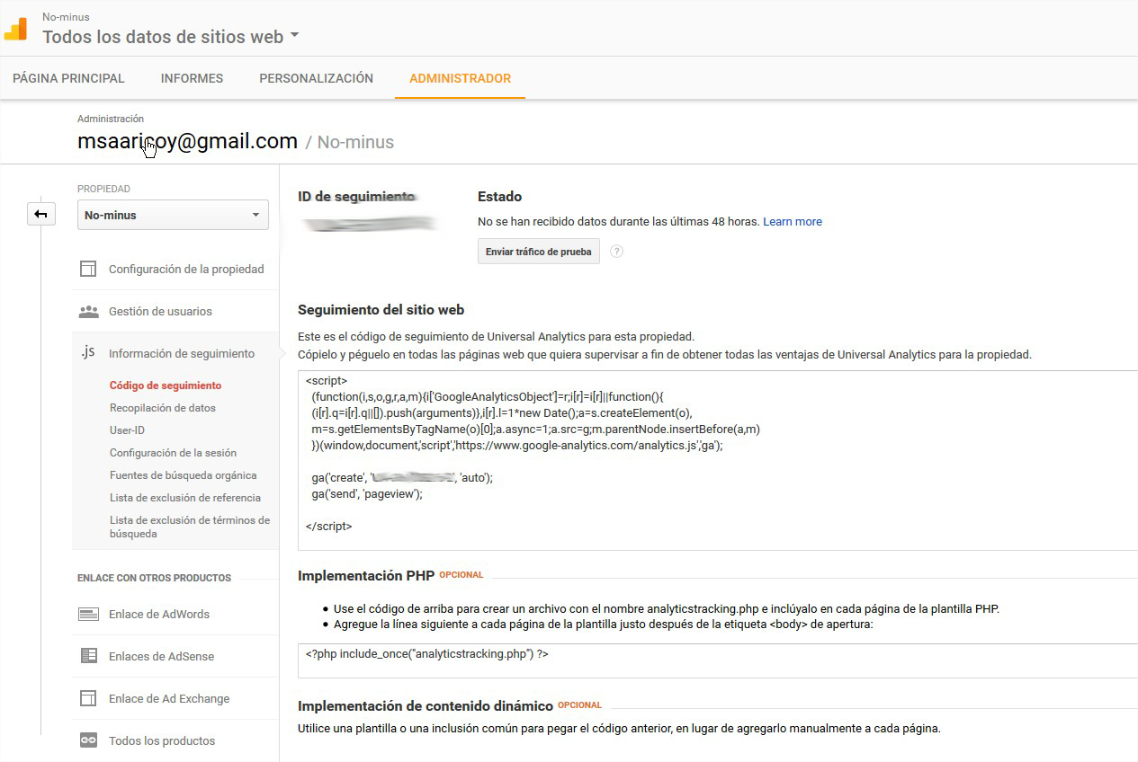 Id seguimiento Google Analytics en WordPress