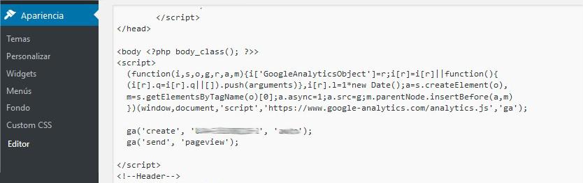 Id Seguimiento Google Analytics WordPress