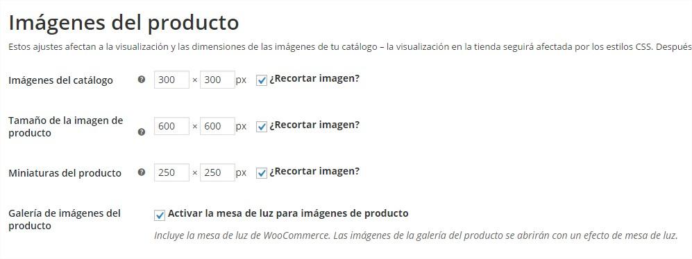 tamaño de imágenes de productos WooCommerce