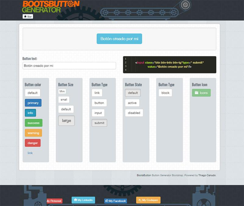 BootsButton Generator botones boostrap herramienta gratuita