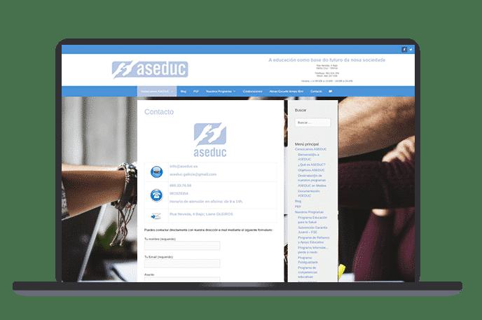 web wordpress asociación contacto
