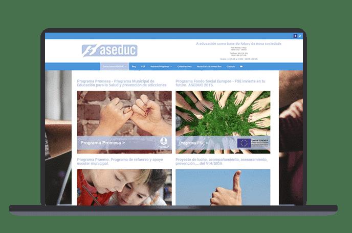web wordpress asociación programas